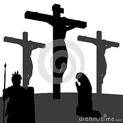 Passion de silhouette du Christ