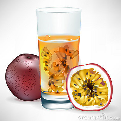 Passion fruit beverage with fruit and slice