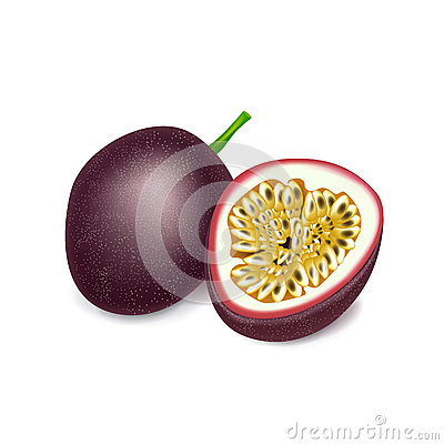 Passion fruit and slice isolated on white