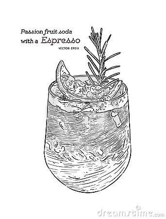 Free Passion Fruit Soda With Espresso, Hand Draw Sketch Vector Stock Photography - 134124812