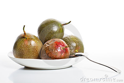 Passion fruits on dish 2