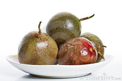 Passion fruits on dish