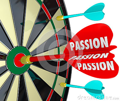 Passion Word Desire Focus Dart Board Dedication Commitment Targe