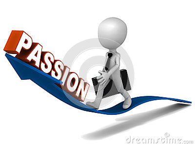 Passion word rising on an arrow, little business riding the arrow of ...