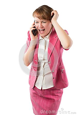 Passionate  aggressive business woman talking and cry on mobile phone