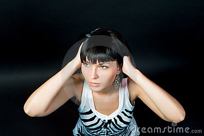 Passionate caucasian slavic girl looking up