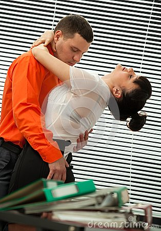 Passionate embraces of colleague