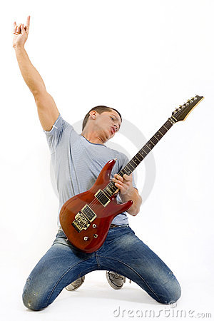 Free Passionate Guitarist Playing His Electric Guitar Royalty Free Stock Photography - 11094577