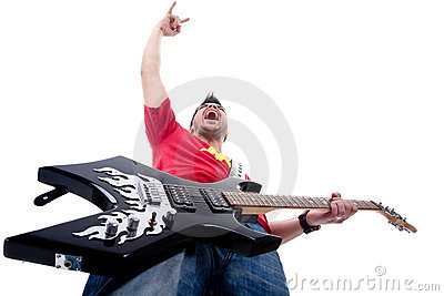 Passionate guitarist screaming and gesturing