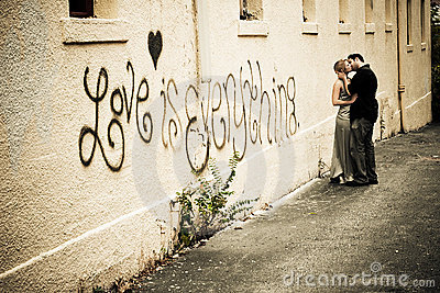 Passionate Kiss in the Alley