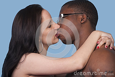Passionate kiss a white woman and black man