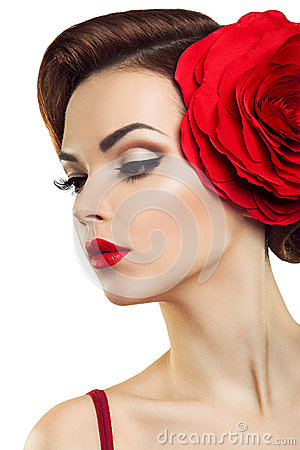Free Passionate Lady With A Red Flower In Her Hair. Stock Images - 36020794