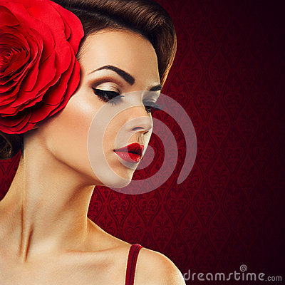 Free Passionate Lady With A Red Flower In Her Hair. Stock Photos - 36023943