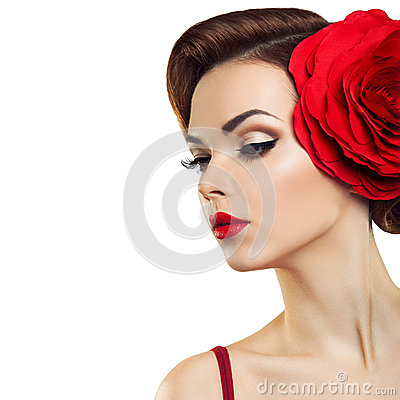 Free Passionate Lady With A Red Flower In Her Hair. Royalty Free Stock Image - 51654556