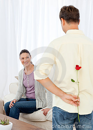 Free Passionate Man Hidden A Rose Behind His Back Stock Image - 17376161