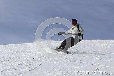 Passionate Snowboarding Man Drifting