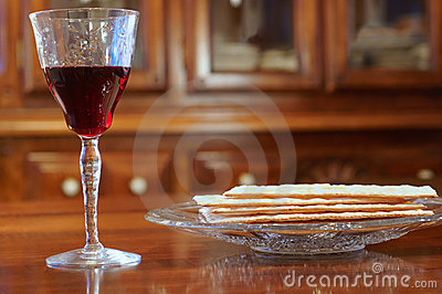 Passover wine and matzoh