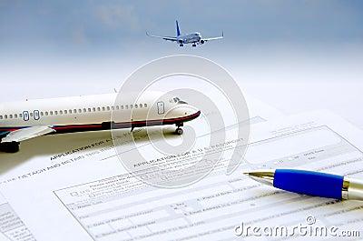 Passport application travel concept