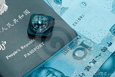 Passport bank note and compass
