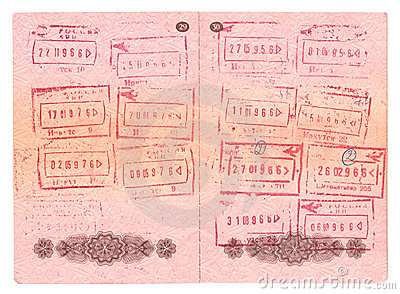Passport control stamps