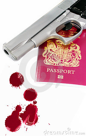 Passport and gun with blood splatters