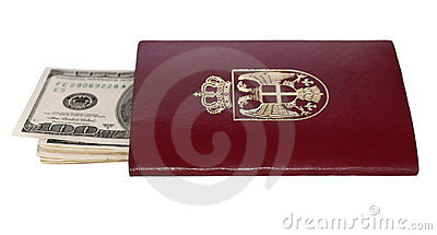 Passport and hundred dollar bill  isolated on whit