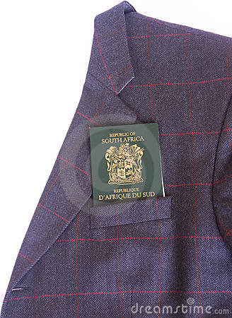 South African passport in jacket