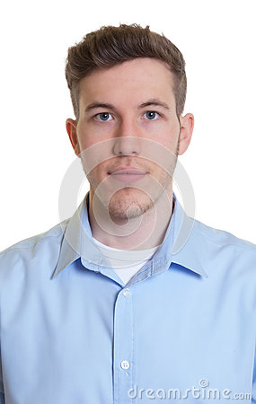Free Passport Picture Of A Cool Guy In A Blue Shirt Royalty Free Stock Images - 55127029