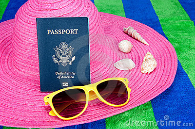 Passport on pink hat