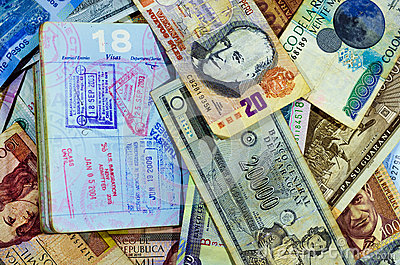 Passport Stamps and Currency