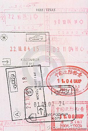 Passport stamps visas