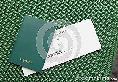 Passport and ticket (empty copy space)