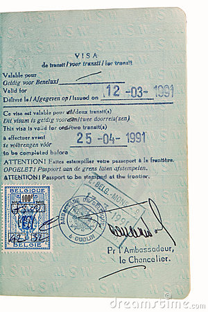 Passport - transit visa stamp.
