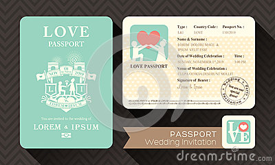 Passport Wedding Invitation Stock Vector - Image: 40341259
