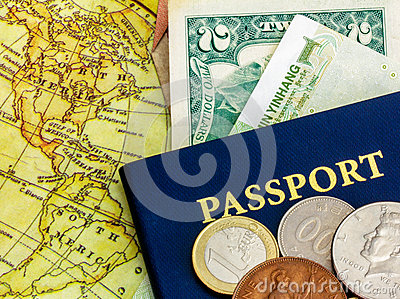Passport with world currency and map