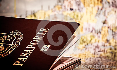 Passport & world map