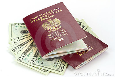 Passports and money for holidays