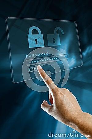 Password on a digital screen