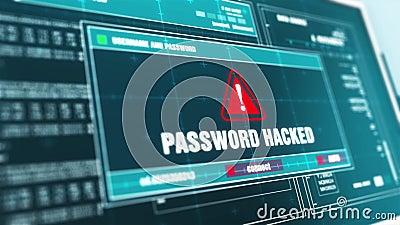 Password Hacked Warning System Security Alert error message Computer Screen. stock footage