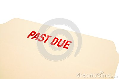 Past due stamp on paper