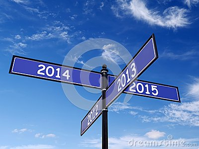 Past and New Year Roadsign