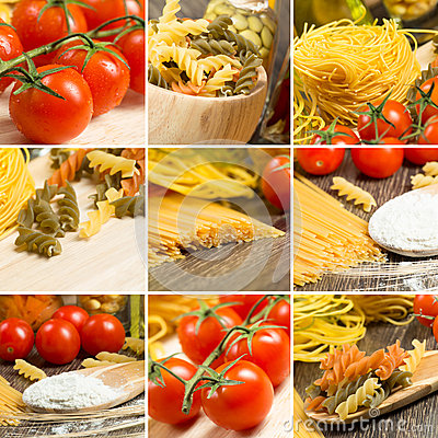 Free Pasta And Cherry Tomatoes, Collage Royalty Free Stock Photos - 34167638