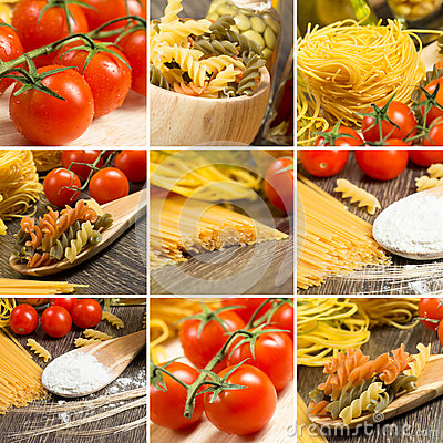 Free Pasta And Cherry Tomatoes, Collage Stock Photos - 35012583