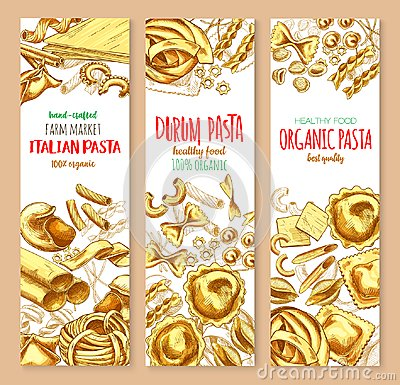 Free Pasta And Italian Macaroni Vector Banners Set Stock Photo - 99294520