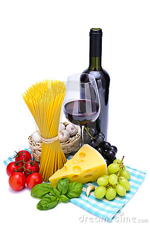 Free Pasta And Wine Royalty Free Stock Image - 18711226
