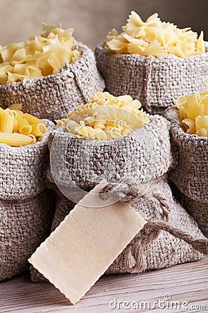 Pasta assortment in burlap bags