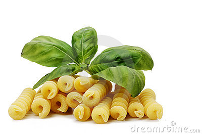 Pasta with basil leaves