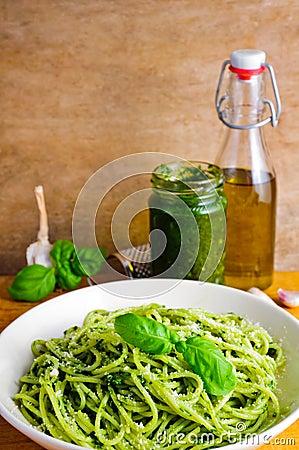 Pasta with basil pesto