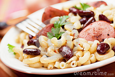 Pasta with beans and sausage