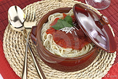 Pasta in a clay pot